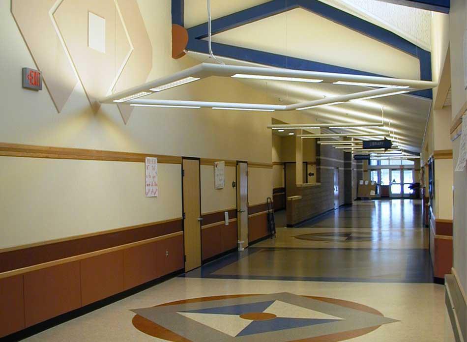barnes elementary corridor - architectural services firm longview wa designs schools