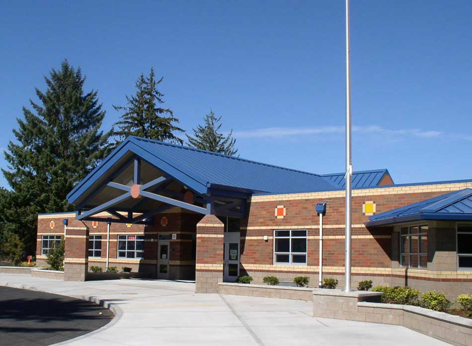 barnes elementary entry -  architectural services firm longview wa designs schools