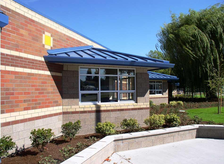 barnes elementary exterior - architectural services firm longview wa designs schools