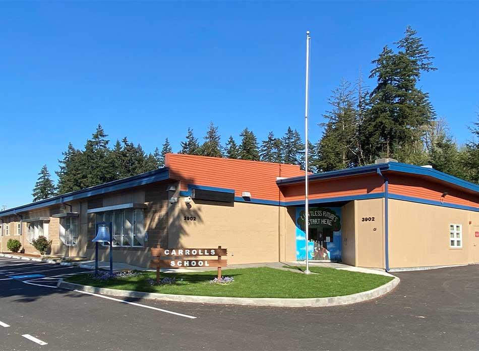 carrolls elementary exterior 1 - architectural services firm longview wa designs schools