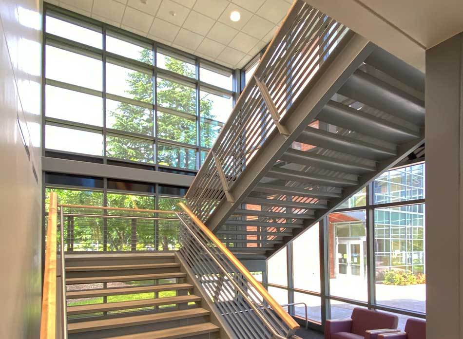 lcc college stairwell - architectural services firm longview wa designs schools