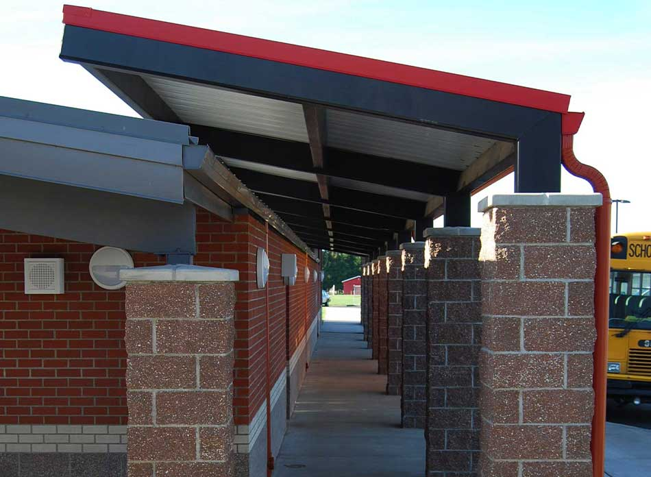 mossyrock gym exterior canopy - architectural services firm longview wa designs schools