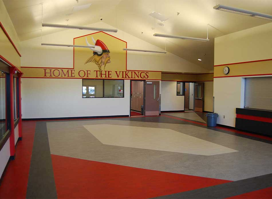 mossyrock gym lobby - architectural services firm longview wa designs schools